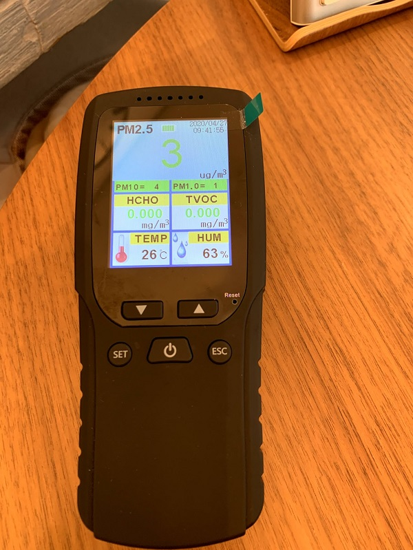 TVOC数値がゼロの普段の空気汚染測定器