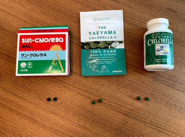 サンクロレラA 、THE YAEYAMA CHLORELLA α、Source Naturalsの比較画像